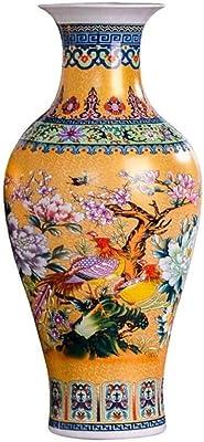 ,Rouge 46cm ufengke Jingdezhen Grand Vase de Sol en C/éramique,Vase /à Fleurs,Vase D/écoratif Fait Main pour Mariage,Hauteur 18.11