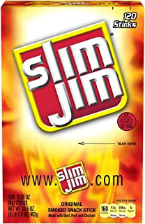 Slim Jim Snack-Sized Smoked Meat Sticks, Original Flavor, Keto Friendly, 0.28 Ounce, 120 Count (Pack of 1)