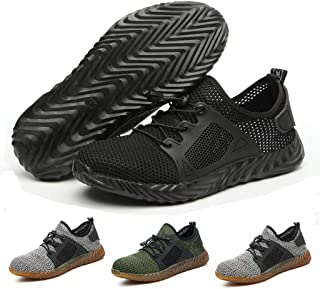 Safety Work Shoes Men Steel Toe Sneaker Industrial Construction Puncture Proof Shoes Lightweight Breathable Mesh Non-Slip Outdoor Sports Footwear