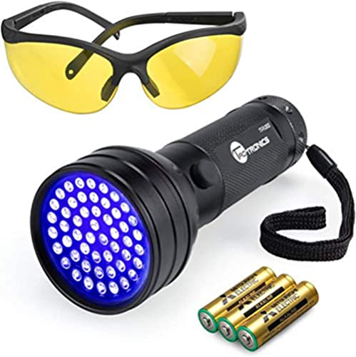 TaoTronics Black Light, 51 LEDs UV Blacklight Flashlights, Free UV Sunglasses and 3 Batteries Included, Detector for ...
