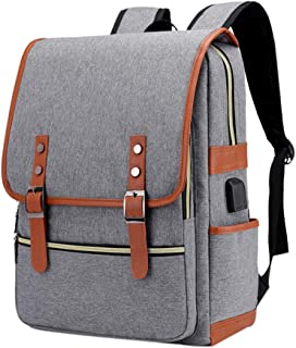 Laptop Backpack Daypack Fits 15.6 inch with USB Charging Port (Grey)