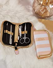Two's Company Nailed It Manicure Set in Zippered Case - (1 Count) Pink-White Stripe