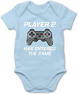 Player 2 Has Entered The Game Controller grau Baby Body Langarm Shirtracer Partner-Look Familie Baby