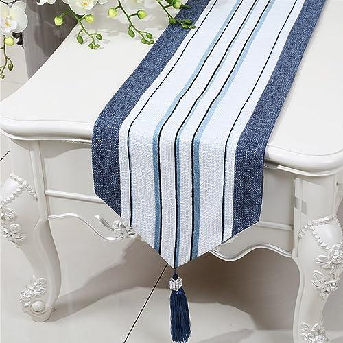 nueva marca LINGZHIGAN azul Stripe Cloth Cuadro Cuadro Cuadro runner Modern Simple Fashion Upscale Sala de estar Cocina Restaurante Hotel Home Textiles (Este producto sólo vende corrojoor de mesa) 33  230cm  Compra calidad 100% autentica