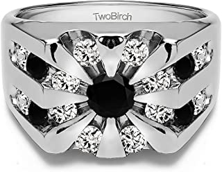 TwoBirch Sterling Silver Round Channel Set Sun Burst Style Men's Ring With Black And White Cubic Zirconia(2.98Ct.)