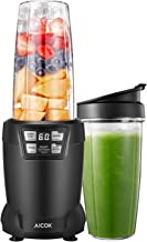 Aicok Smoothie Blender, Blender 1200W, 28000RPM High Speed Professional Blender with LED Smart One Touch, 6 Blade for Shakes and Smoothies with 35oz and 28oz Tritan Travel Cups, Black