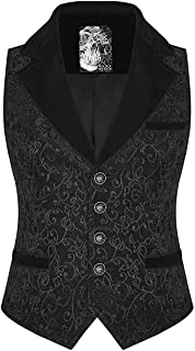 Punk Rave Mens Vest Waistcoat Black Jacquard Velvet Goth Steampunk Victorian VTG