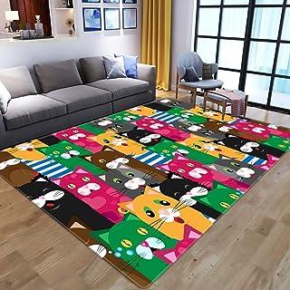 Rolig kattmönstrad matta i starka färger.