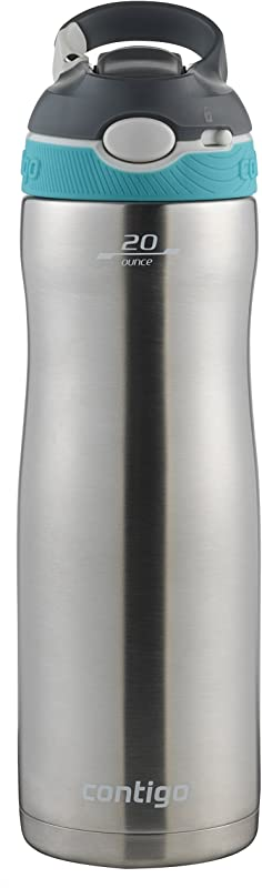 Contigo Stainless Steel Water Bottle Vacuum Insulated Water Bottle AUTOSPOUT Ashland Chill Water Bottle 20oz Stainless Scuba