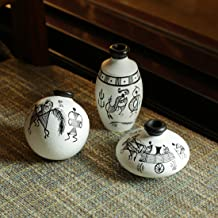 ExclusiveLane Warli Hand-Painted Terracotta Miniature Decorative Pot (9.4 cm x 9.4 cm x 8.9 cm, White, Set of 3)