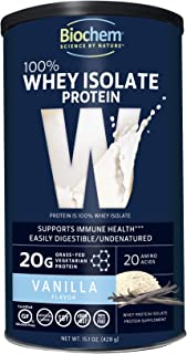 Biochem 100% Whey Isolate Protein - Vanilla Flavor - 15.1 Ounce - Supports Immune Health - Easily Digestible - Refreshing Taste - 20g Vegetarian Protein - Amino Acids