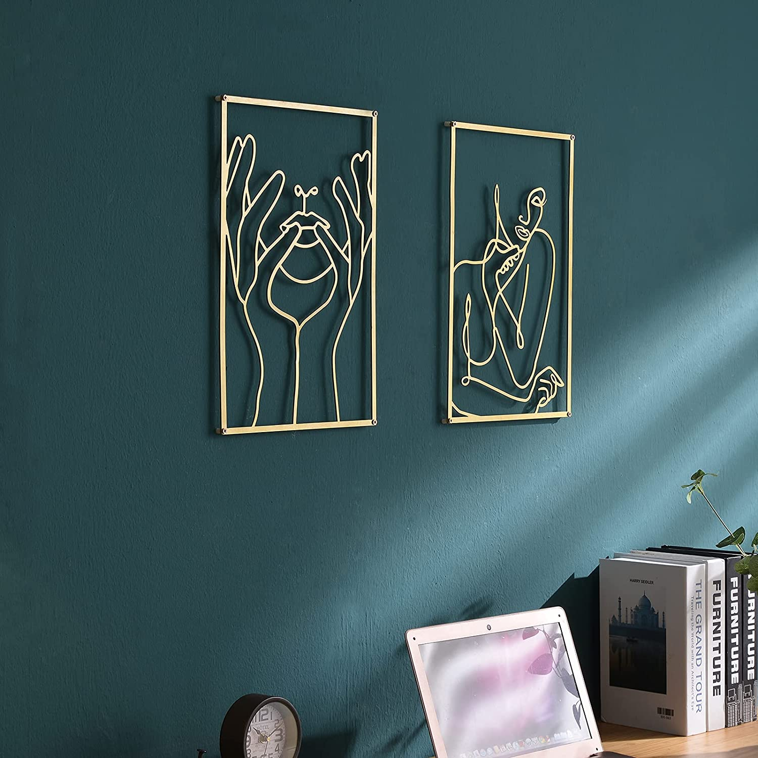 DeaTee 2 Pack Gold Wall Ranking TOP6 Art Metal Real Decor Wa 0.12'' Be super welcome Thicker