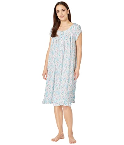 Eileen West Modal Spandex Jersey Knit Cap Sleeve Waltz Nightgown (White Ground/Multi Floral) Women