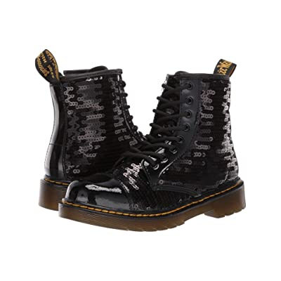 267dc093eb20 Dr. Martens Kid's Collection 1460 Pooch Sequins Boot (Little Kid/Big Kid)  (Black Sequin/Patent Lamper) Girls Shoes