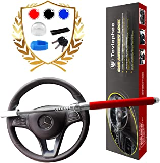 Steering Wheel Lock   Universal Anti-Theft Clamp Heavy Duty Vehicle Safety Rotary Adjustable Lock Self-Defense with 3 Keys (RED)