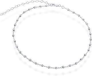 "Sterling Silver 12"" + 3"" Italian Diamond-Cut MoonBeads Choker Necklace"