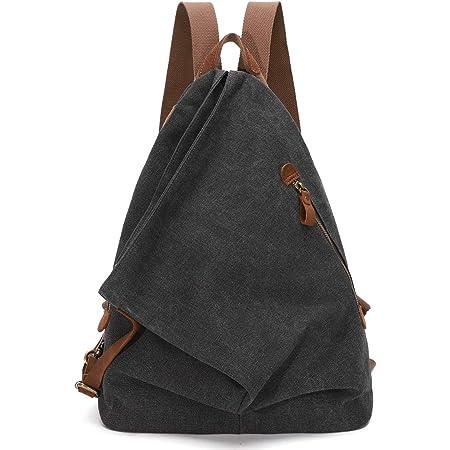 KL928 Retro Segeltuch Rucksack Canvas Vintage Rucksäcke Echtleder Daypack Reisetasche Schulterrucksack für Herren Damen