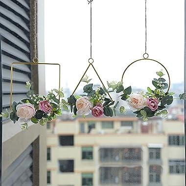Darkduke Flower Hoop Wreath, Metal Floral Hoop Wreath, Metal Geometric Rings with Artificial Hydrangea Flower and Willow Leav
