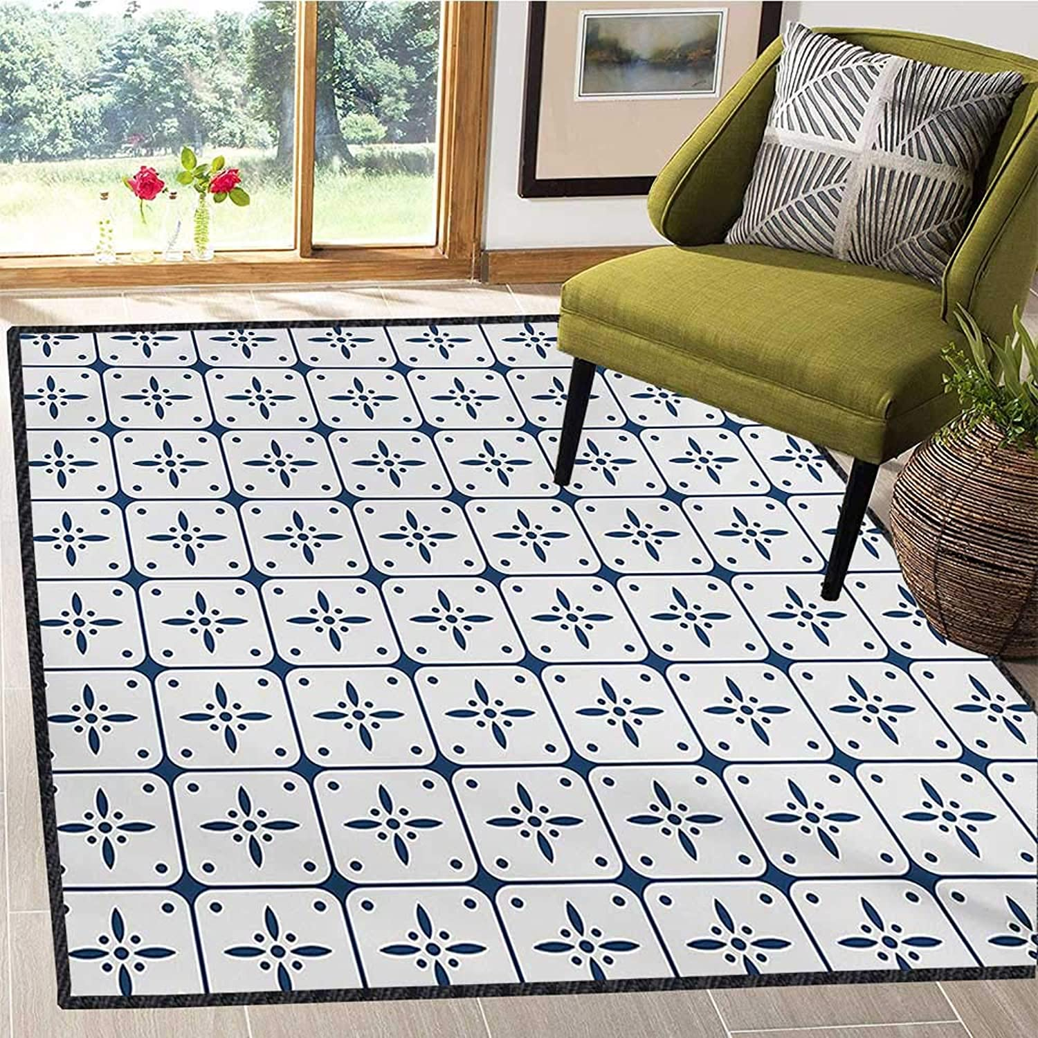Dutch, Floor Mat for Kids, Classical Holland Delft Pattern with Checkered Squares with Flower Motifs, Door Mats for Inside Non Slip Backing 4x6 Ft Dark bluee and White
