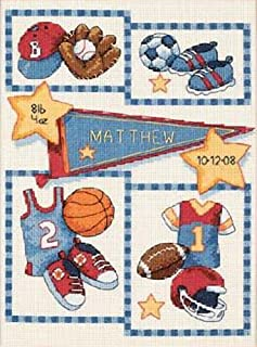 Dimensions Counted Cross Stitch Kit Little Sports Baby Boy Birth Record, 14 Count Ivory Aida, 9