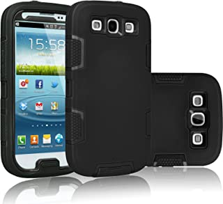 Tekcoo Galaxy S3 Case, [Troyal Series] [Black/Black] Hybrid Shock Absorbing Shock Dust Dirt Proof Defender Rugged Full Body Hard Case Cover Shell for Samsung Galaxy S3 S III I9300 GS3 All Carriers