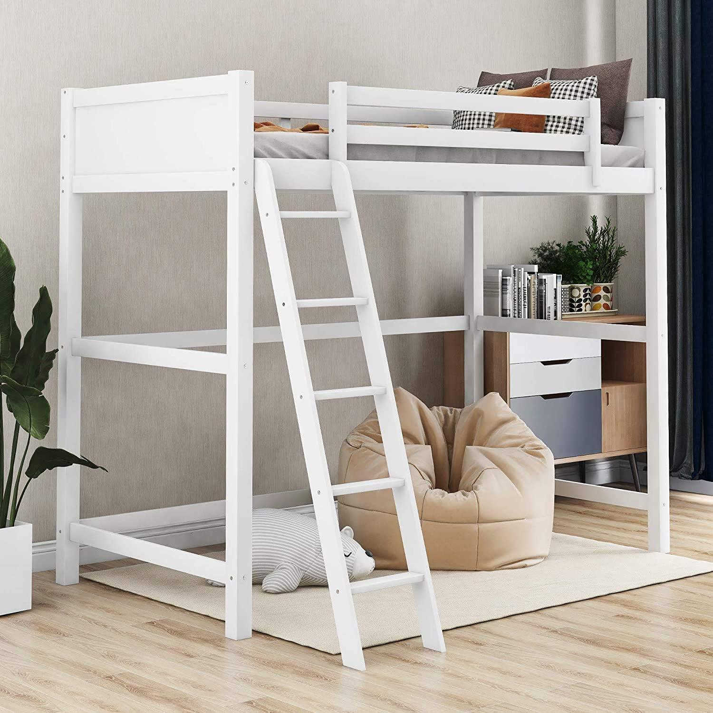 Amazon Com Ladder Twin Bunk Wooden Loft Bed Over Desk Kids Teen Bedroom White Wood Furniture Legendary Yes Kitchen Dining