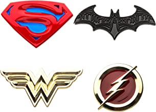 DC Comics Unisex Adult Justice League Superman, Batman, Wonder Woman and The Flash Enamel Lapel Pin Set (4 Piece), Yellow/Red, One Size