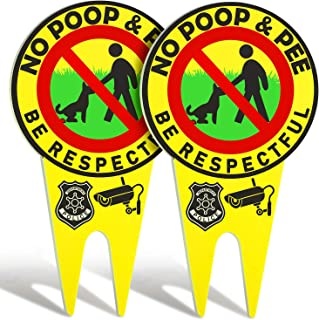 2 Pieces No Poop Dog Signs No Poop and Pee Sign Luminous Be Respectful Sign Yard Dog Sign with Stake Glow in The Dark Dog ...