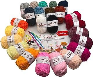 LovLim Crochet Yarn kit , 24 Soft Cotton Yarn skeins, 1500+ Yards, for Crochet and Knitting, Craft DK Yarn, Free Crochet/A...