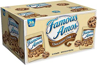 Kellogg's 10003 Famous Amos Cookies, Chocolate Chip, 2 oz Snack Pack, 36/Carton