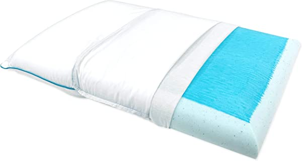 Bluewave Bedding Ultra Slim Max Cool Gel Memory Foam Pillow For Stomach And Back Sleepers Thin And Flat Therapeutic Design For Spinal Alignment Better Breathing And Enhanced Sleeping Full Pillow