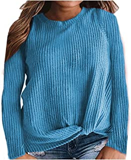 neveraway Womens Casual Leisure Long-Sleeve Knitted Knot Plus-Size Tees Top
