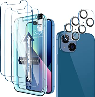 [ 3+3 Pack] LK 3Pack Screen Protector Compatible for iPhone 13 6.1-inch with 3Pack Camera Lens Protector, Anti-Scratch Eas...