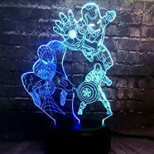New Movie Avengers Marvel Super Hero Spider Captain America Iron Man Cartoon Acrylic Lava LED Mixed 7 Color Charge Baby Sleep Night Lamp Fans Friends Fun Gift(Mix I S C)