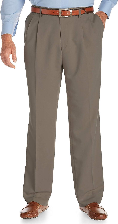 Cutter & Buck Men's Big and Tall Twill Microfiber Pleated Pant Unhemmed