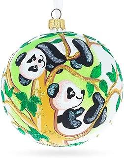 BestPysanky Panda Bears on Tree Branch Glass Ball Christmas Ornament 4 Inches