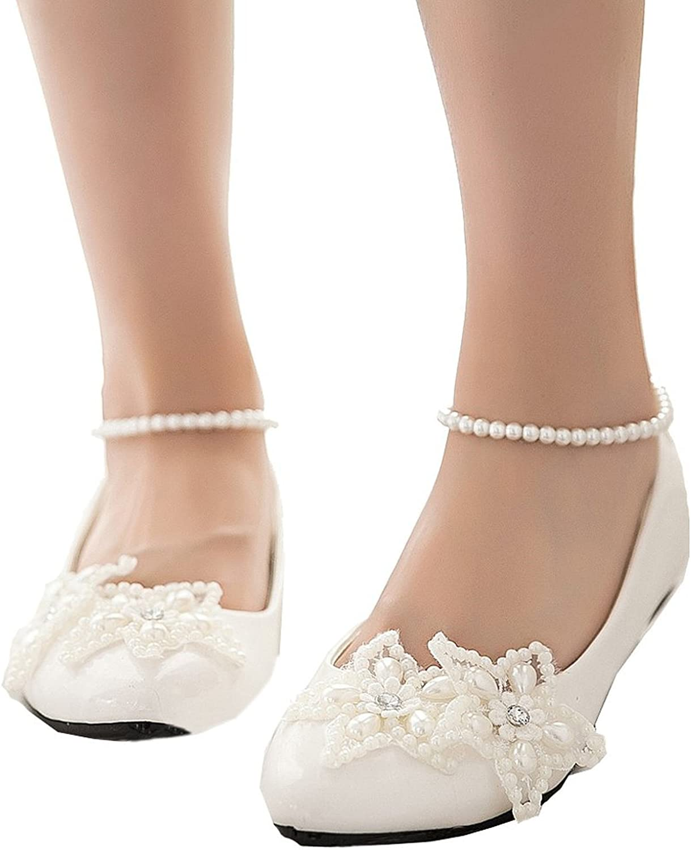 Pilusooou Elegant Women's Mary Jane Flats Pearls Star Across Tops Dress Wedding shoes