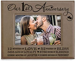 Kate Posh - Our First (1st) Anniversary Engraved Leather Picture Frame - Gifts for Couple, Gifts for Him, Gift for Her, Paper, First Wedding Anniversary Photo Gifts (5x7-Horizontal)