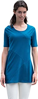 APU KUNTUR Damen Tunika DAZOS | Elegante Sommer Bluse | 100% Bio Pima Baumwolle GOTS Zertifiziert | Kurzarm T-Shirt einfarbig mit Rundkragen
