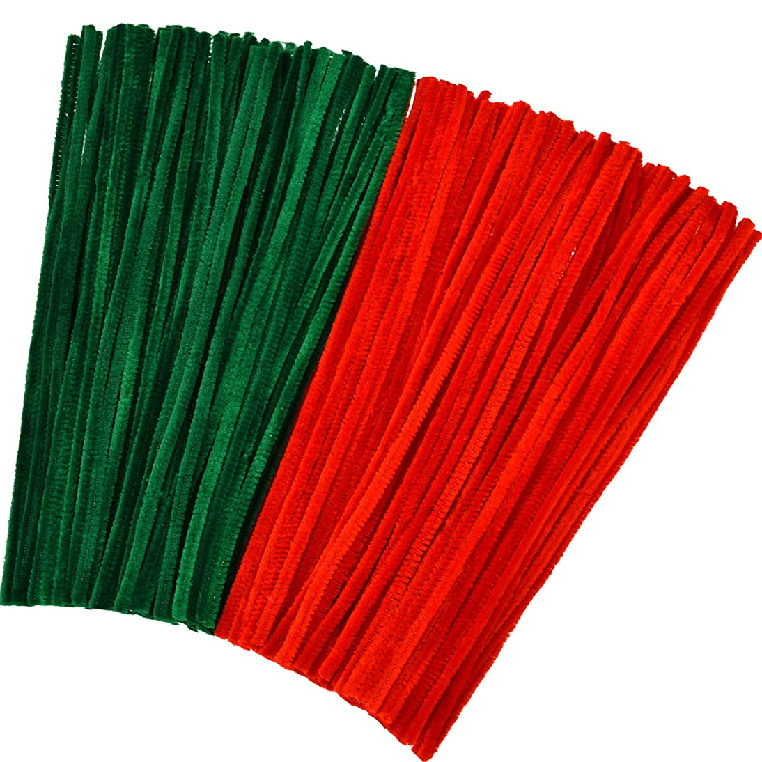 Tatuo 300 Pieces Christmas Chenille Stems Pipe Cleaners for DIY Art Craft Supplies Decorations, 12 Inches by 6 mm, Red and Green