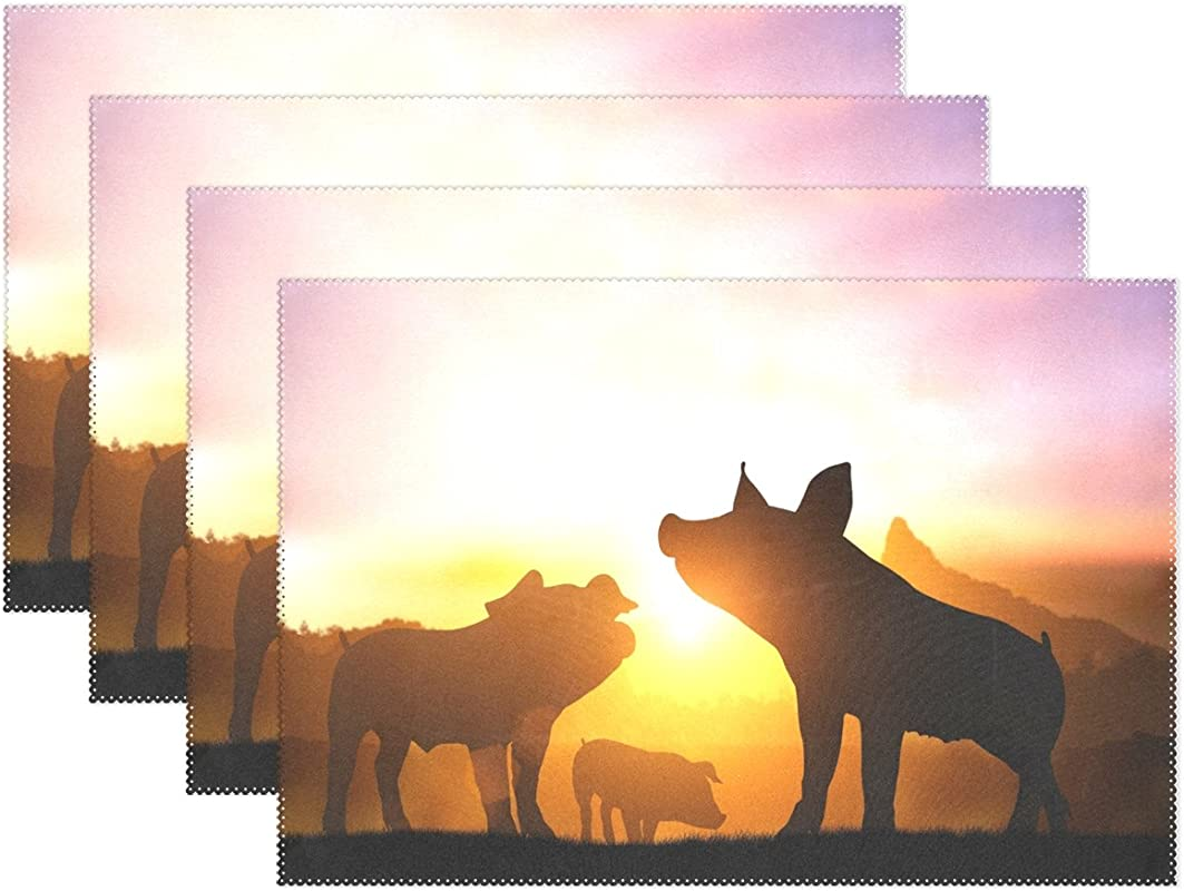 WOZO Sunset Happy Pig Piggy Family Placemat Table Mat 12 X 18 Polyester Table Place Mat For Kitchen Dining Room Set Of 6