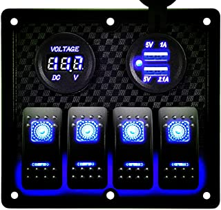 DCFlat Waterproof 3 Gang / 4 Gang / 6 Gang Circuit LED Car Marine Boat Rocker Switch Panel with Fuse Dual USB + Power Socket Breaker Voltmeter Overload Protection