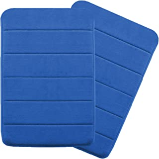 17 inch by 24 inch Microfiber Memory Foam Bath Mat with Anti-Skid Bottom Non-Slip Quickly Drying Royal Blue Striped Pattern, Two Pack by FlamingoP
