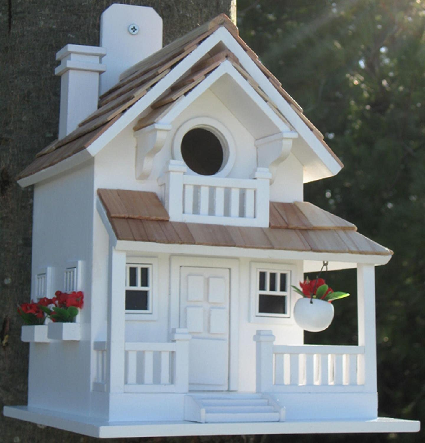 CC Home Furnishings 11  Fully Functional White Courtyard Cottage Outdoor Garden Birdhouse
