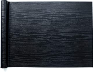 Homein Black Wood Paper Self Adhesive Decorative Matte Woodgrain Vinyl Kitchen Flooring Furniture Waterproof Removable Peel and Stick Wallpaper Thick Roll for Countertops Cabinet Bathroom 11.8x59 inch