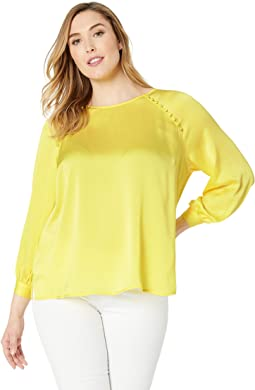 Plus Size Bubble Sleeve Blouse w/ Raglan Button Detail