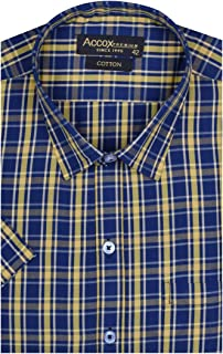 ACCOX Half Sleeve Regular Fit Check Print Cotton Formal Shirt for Man