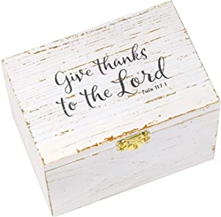 """Eccolo """"Give Thanks"""" Prayer and Notes Wooden Keepsake Box with Metal Clasp, Includes 50 Designed Note Cards"""