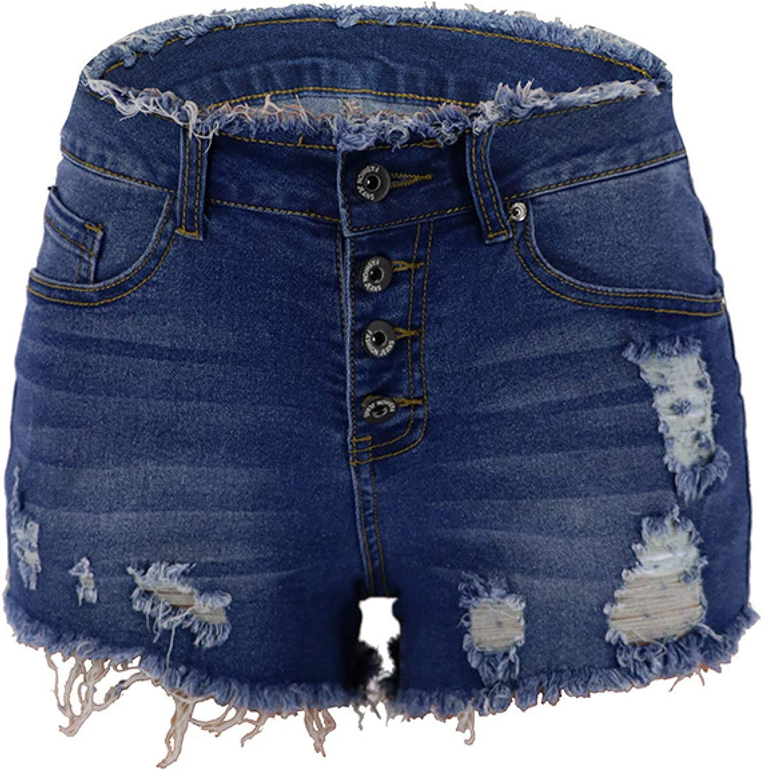 Ladies Spring and Summer New Ripped Denim Shorts Fashion Solid Color Raw Edge
