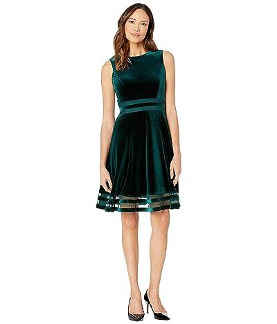 Calvin Klein Velvet A-Line Dress with Illusion (Malachite) Women